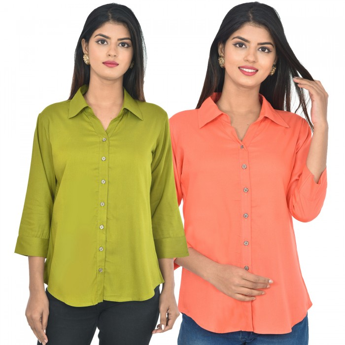 Women Mehndi and peach Solid Rayon Collar Shirt combo pack