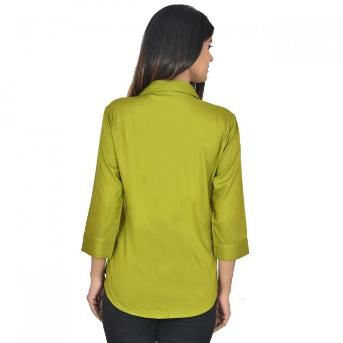 Women Mehndi Solid Rayon Collar Shirt