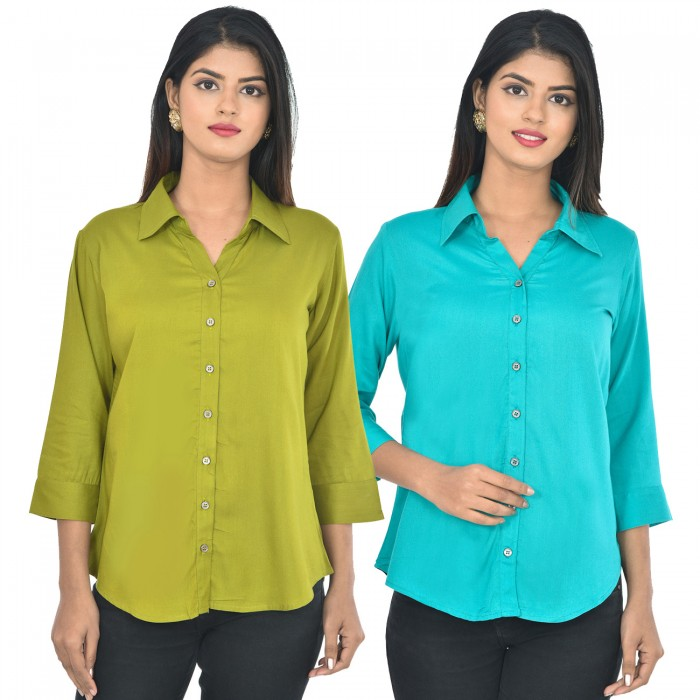 Women Mehndi and sky blue Solid Rayon Collar Shirt combo pack