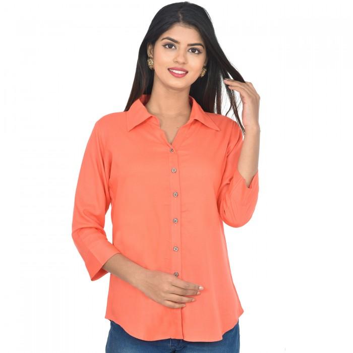 Women Peach Solid Rayon Collar Shirt