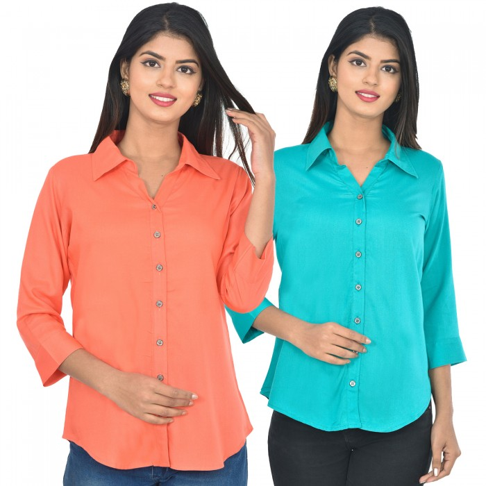 Women Peach and sky blue Solid Rayon Collar Shirt combo pack