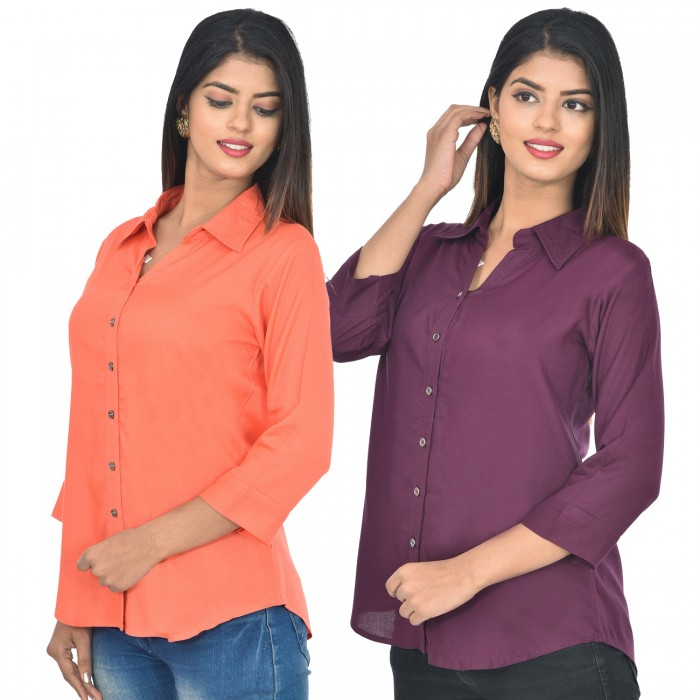 Women Peach and wine Solid Rayon Collar Shirt combo pack