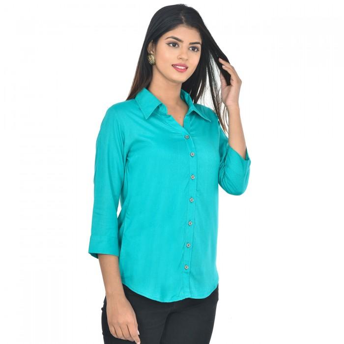 Women Sky Blue Solid Rayon Collar Shirt