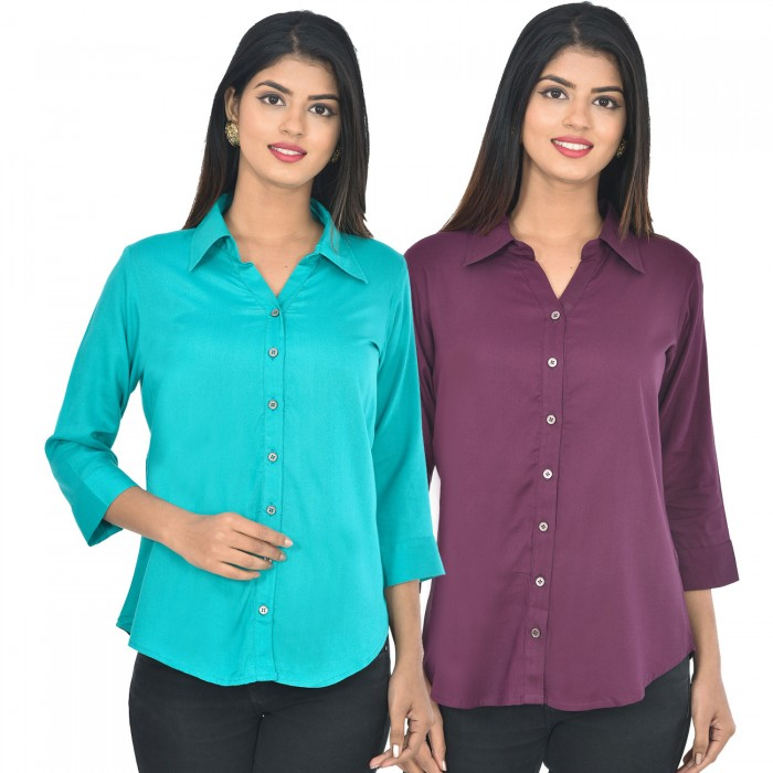 Women Sky blue and wine Solid Rayon Collar Shirt combo pack
