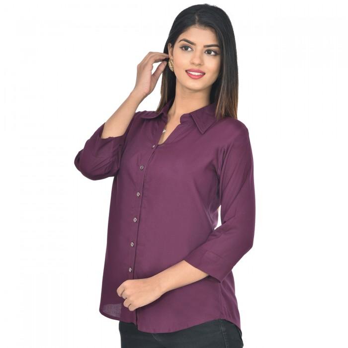 Women Wine Solid Rayon Collar Shirt