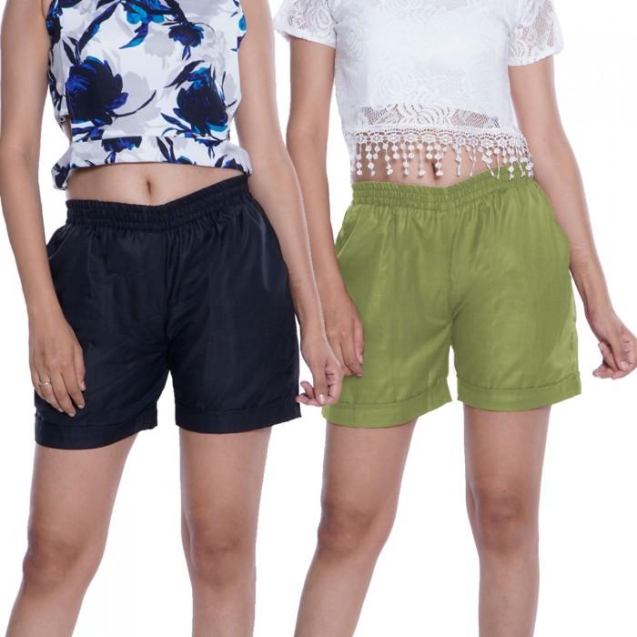 Black & Green Plain Cotton Ruby Slab Shorts Combo Pack for Women