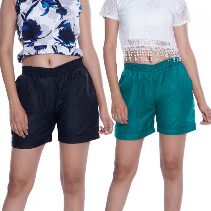 Black & Ocean Blue Plain Cotton Ruby Slab Shorts Combo Pack for Women
