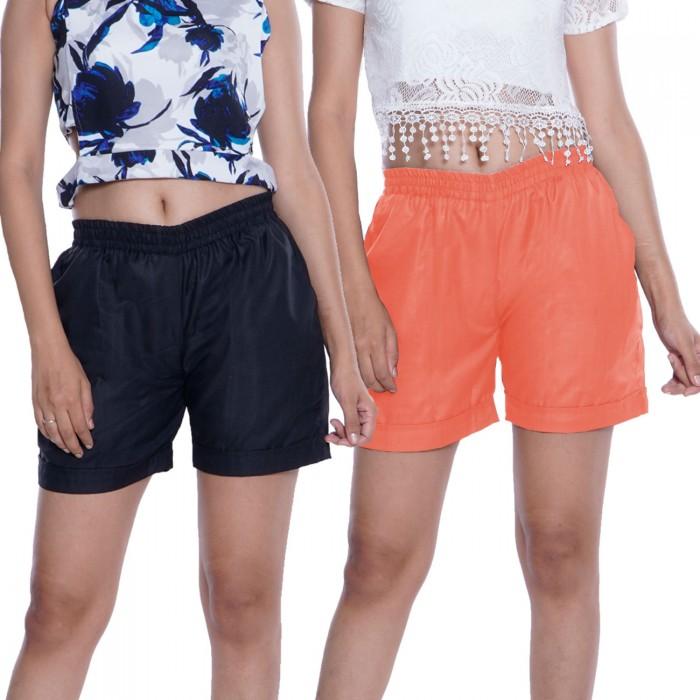 Black & Orange Plain Cotton Ruby Slab Shorts Combo Pack for Women