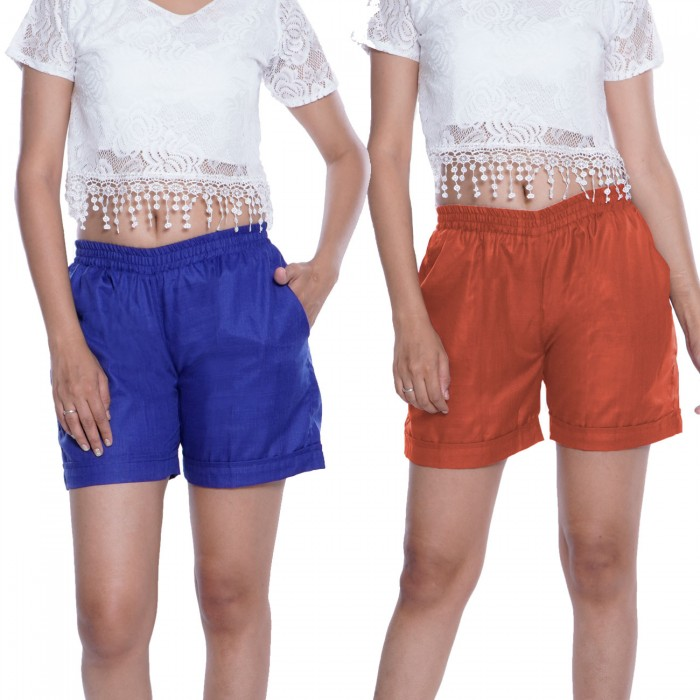 Blue & Carrot Red Plain Cotton Ruby Slab Shorts for Women Combo Pack