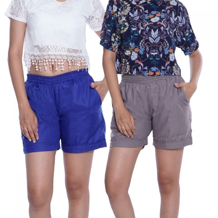 Blue & Dark Grey Plain Cotton Ruby Slab Shorts Combo Pack  for Women