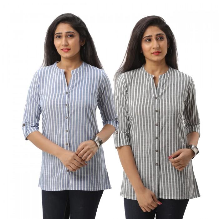 Women Dark Blue &  Grey Striped Shirt Combo