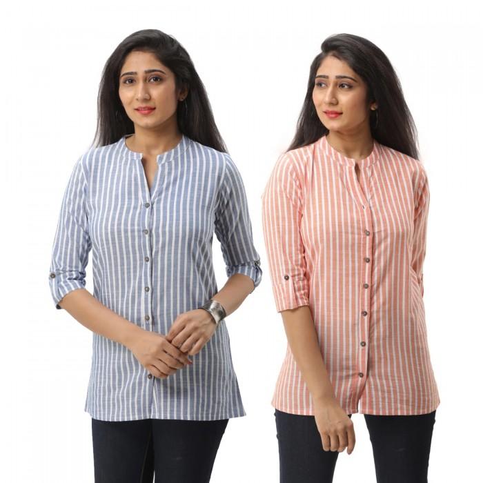 Women Dark Blue &  Orange  Striped Shirt Combo