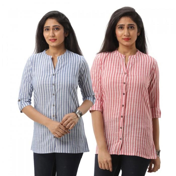 Women Dark Blue &  Pink Striped Shirt Combo