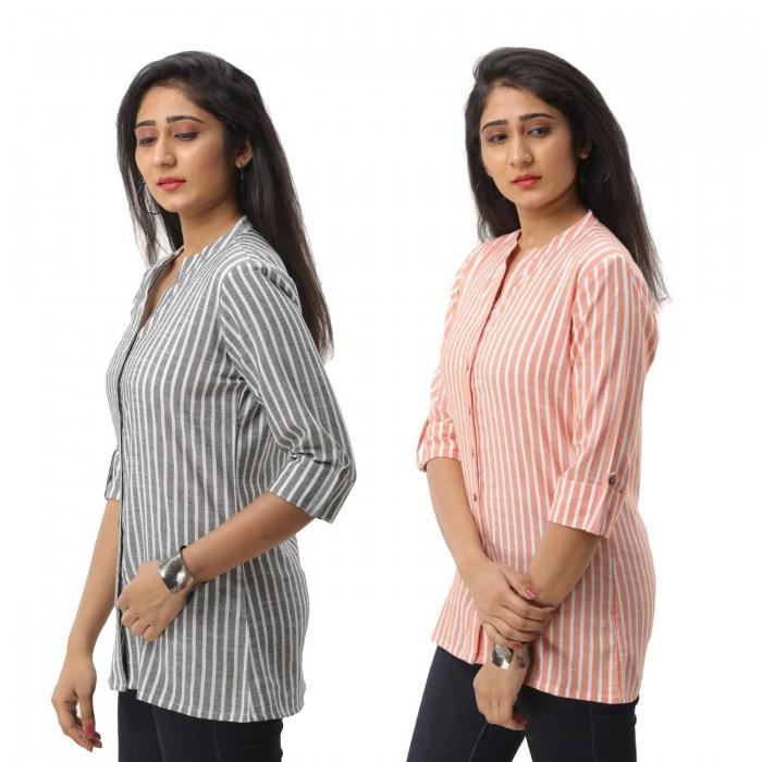 Women Grey & Orange  Striped Shirt Combo