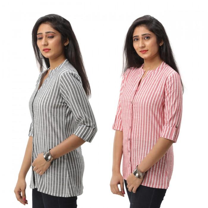 Women Grey  & Pink  Striped Shirt Combo
