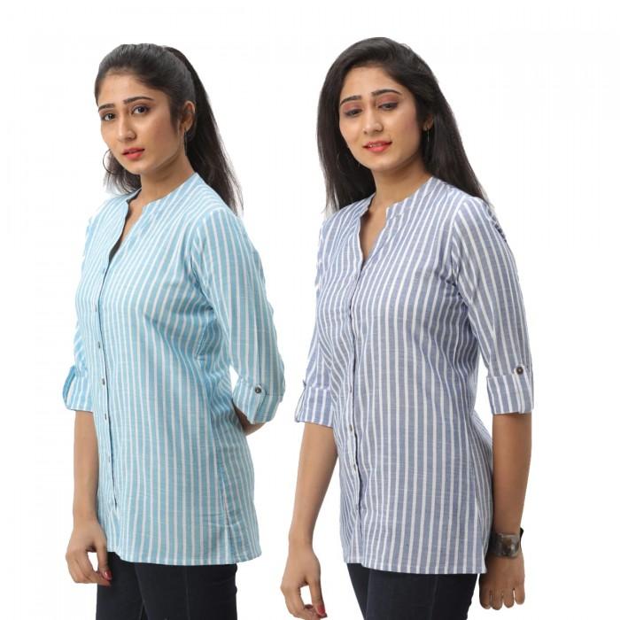 Women Light Blue & Dark Blue  Striped Shirt Combo