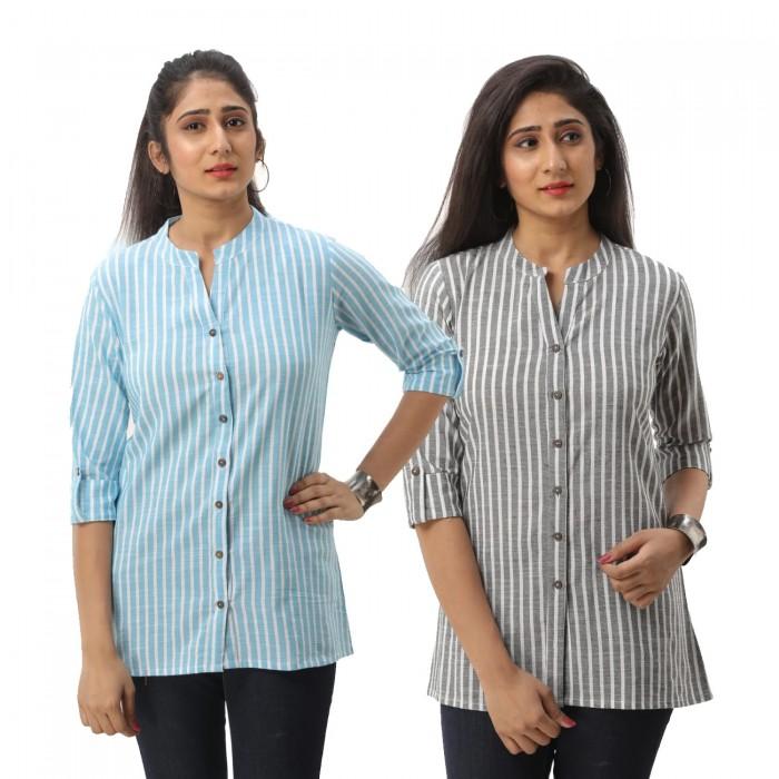 Women Light Blue & Grey Striped Shirt Combo
