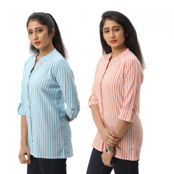Women Light Blue & Orange  Striped Shirt Combo