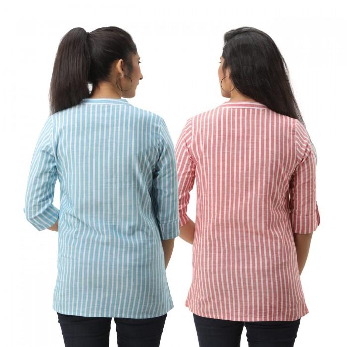 Women Light Blue & Pink  Striped Shirt Combo