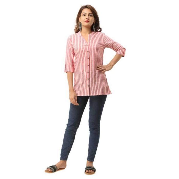 Women Pink  Cotton Striped Shirt