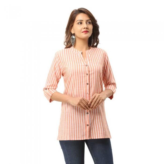 Women Orange  Cotton Strip Shirt