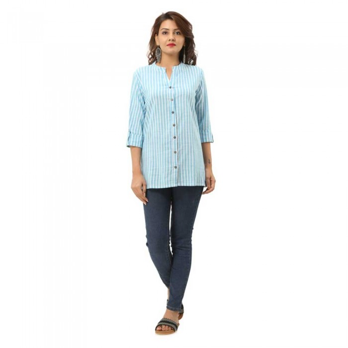 Women Light Blue Cotton Striped Shirt