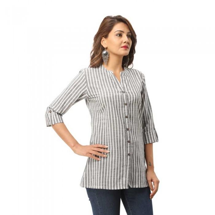 Women Grey  Cotton Strip Shirt