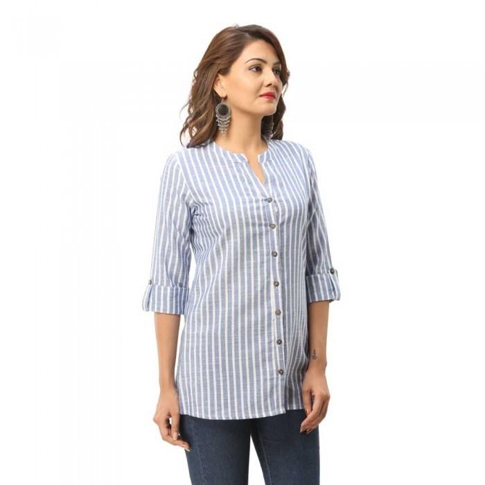 Women Blue  Cotton Strip Shirt