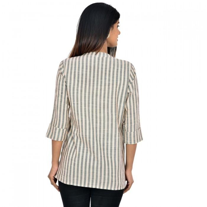 Women Cream Grey  Cotton Strip Shirt