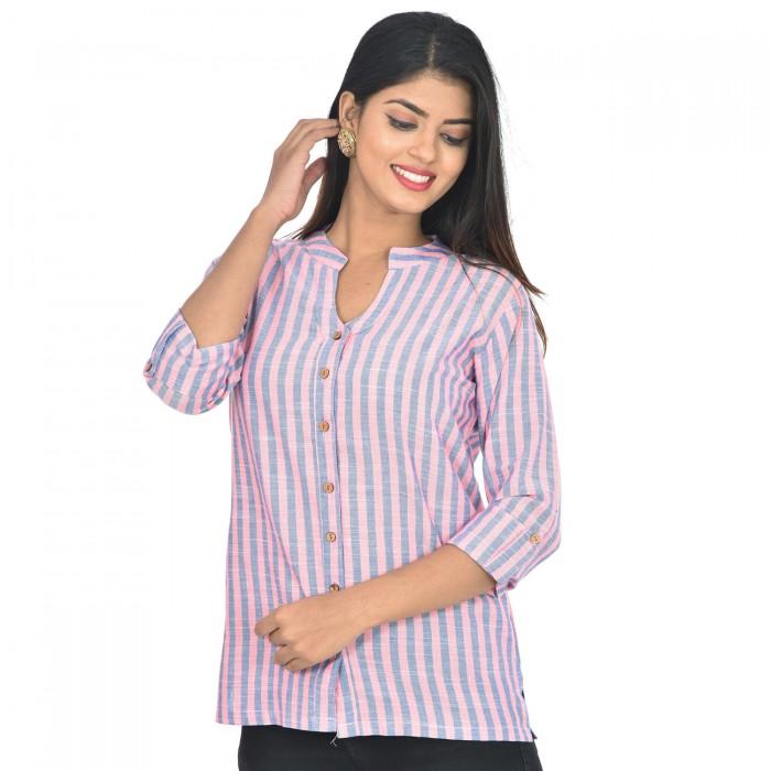 Women Pink Blue  Cotton Strip Shirt