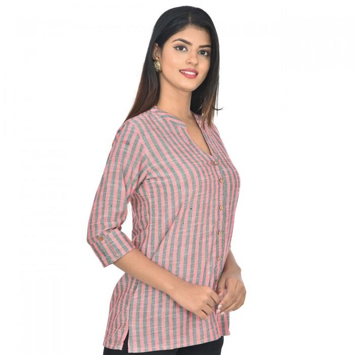 Women Red Grey  Cotton Strip Shirt