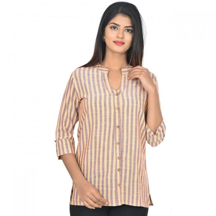 Women Yellow Purple Cotton Strip Shirt