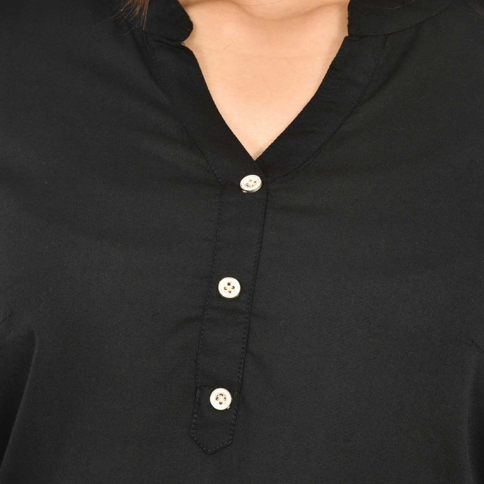 Black Solid Women Rayon Top