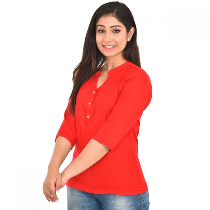 Carrot Red Solid Women Rayon Top