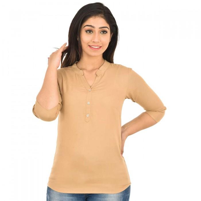 Chiku Solid Women Rayon Top