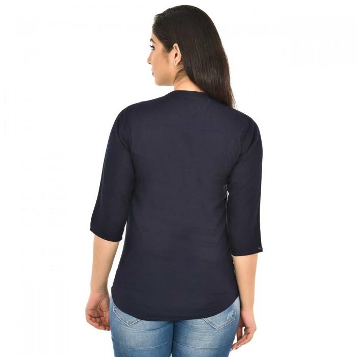 Dark Blue Solid  Women Rayon Top