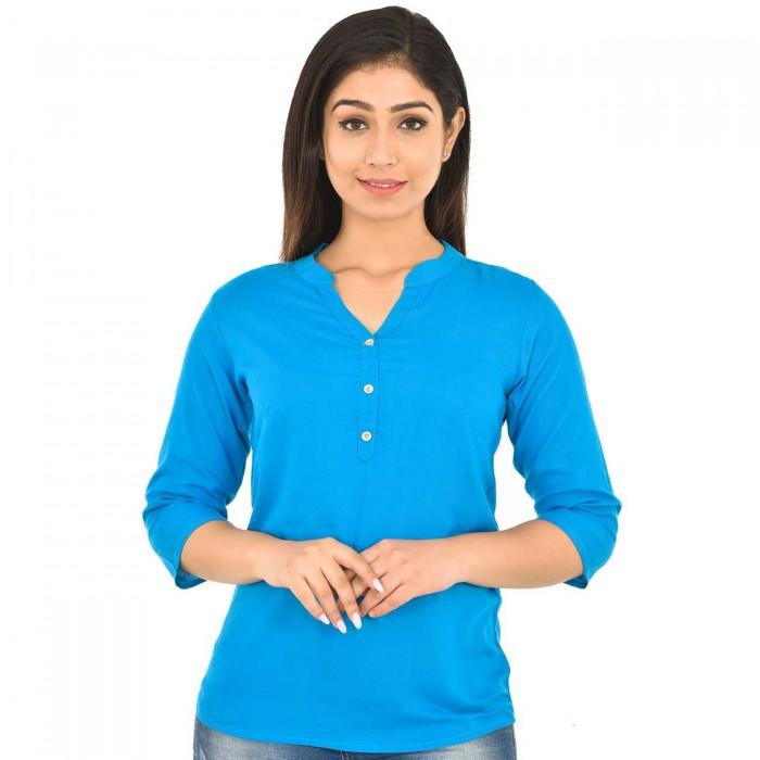 Dark Sky Blue  Solid Women  Rayon Top