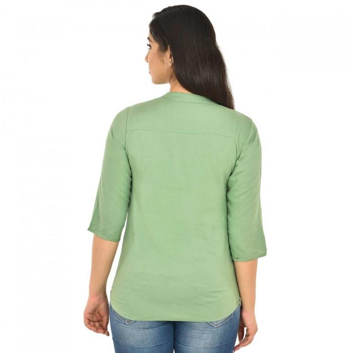 Light Green Women Solid Rayon Top