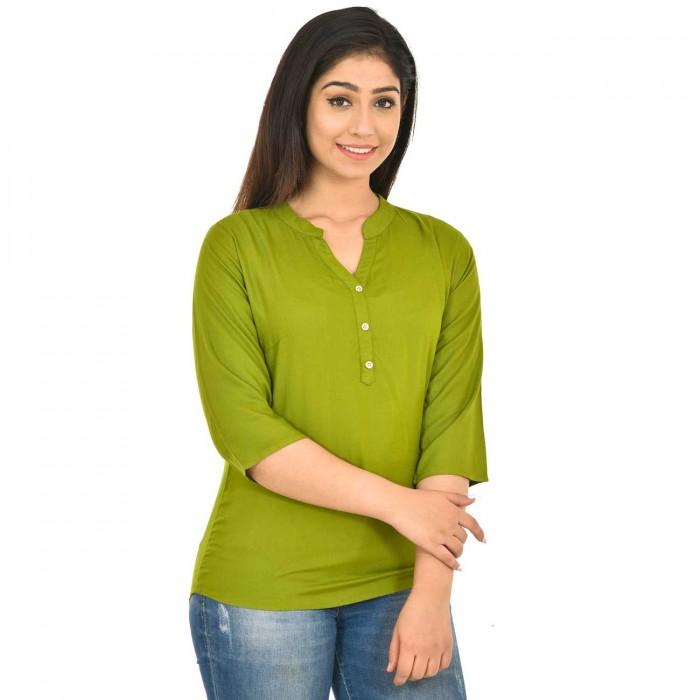 Mehindi Women Solid Rayon Top
