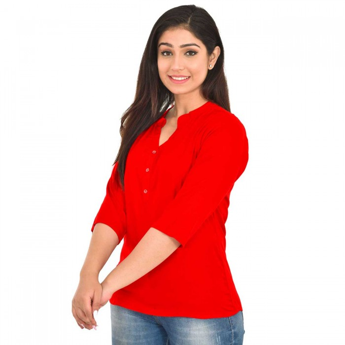 Red Women Solid  Rayon Top