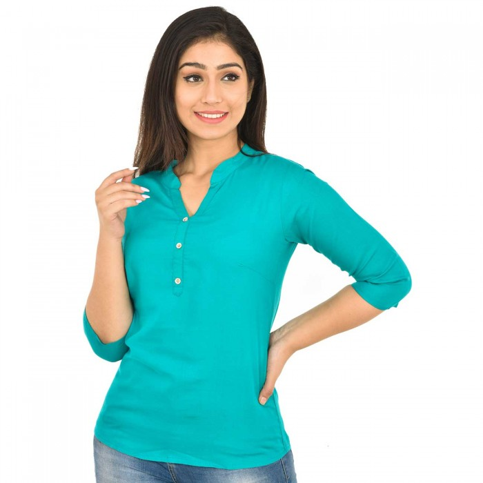 Sky Blue Women Solid Rayon Top