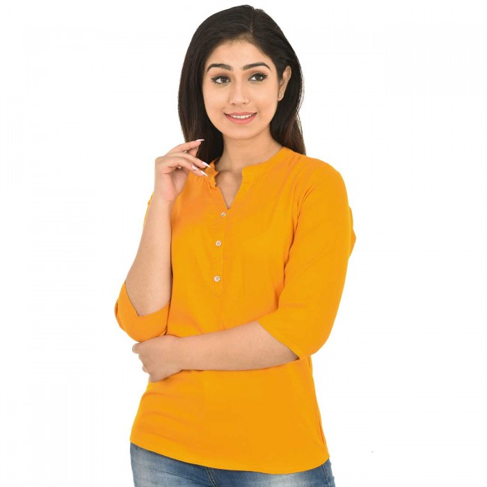 Yellow Solid Women Rayon Top