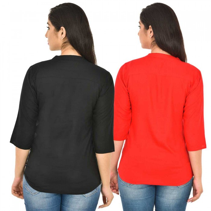 Black and Carrot Red Rayon Women Tops Combo Pack