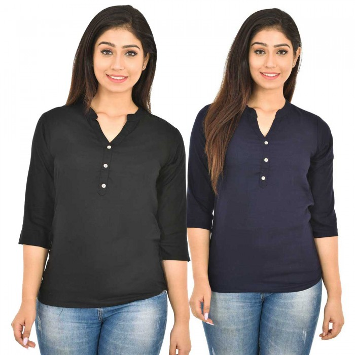 Black and Dark Blue Rayon Women Tops Combo Pack