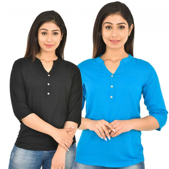 Black and Dark Skyblue Rayon Women Tops Combo Pack