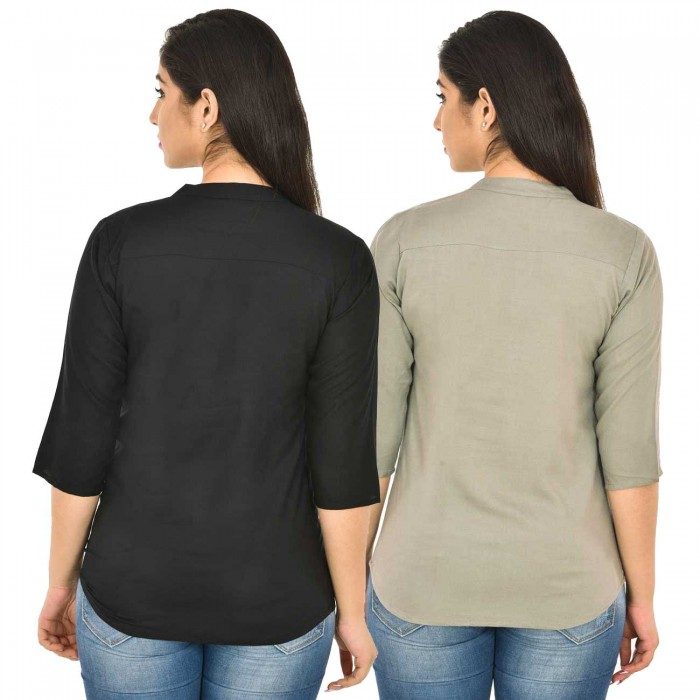 Black and Grey Rayon Women Tops Combo Pack