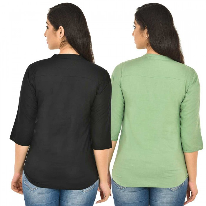 Black and Light Green Rayon Women Tops Combo Pack