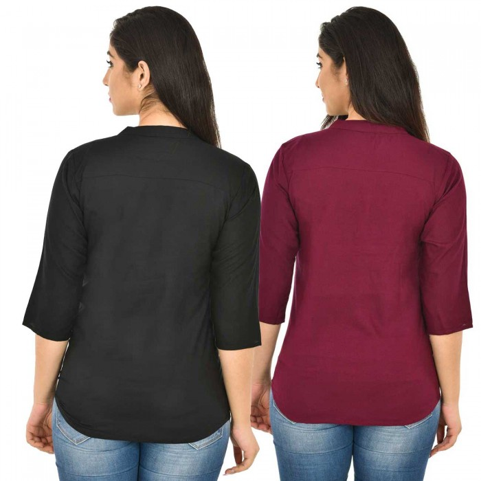 Black and Maroon Rayon Women Tops Combo Pack