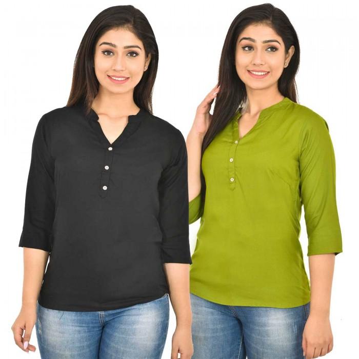 Black and Mehndi Rayon Women Tops Combo Pack