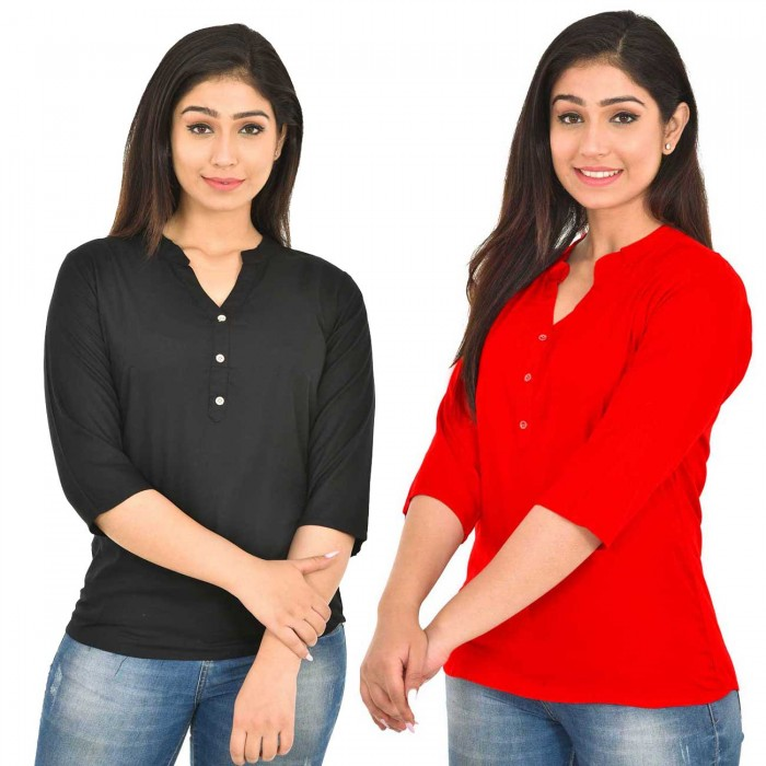 Black and Red Rayon Women Tops Combo Pack